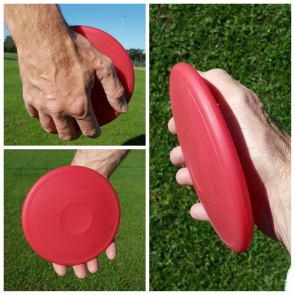 A collage showing the discus grip from three angles