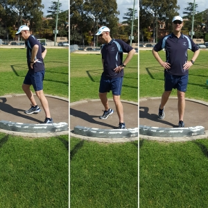 Three-photo sequence depicting a front view of how young throwers can be taught to drive their hips through to the front