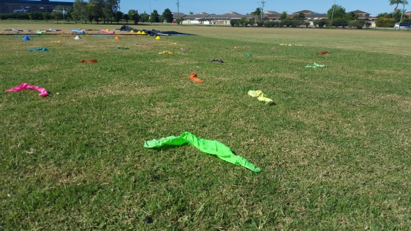 Ribbons spread out on the grass ready form the warm up