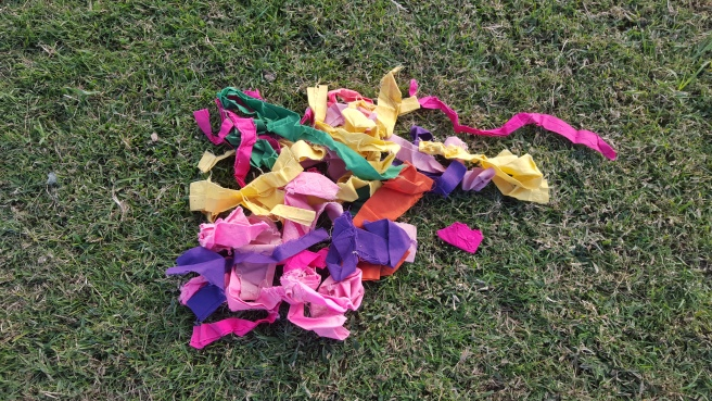 A pile of colourful ribbons