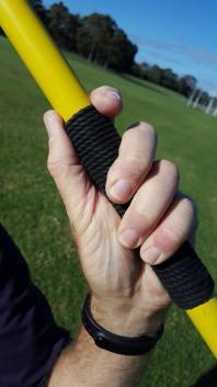 Close-up of a javelin grip