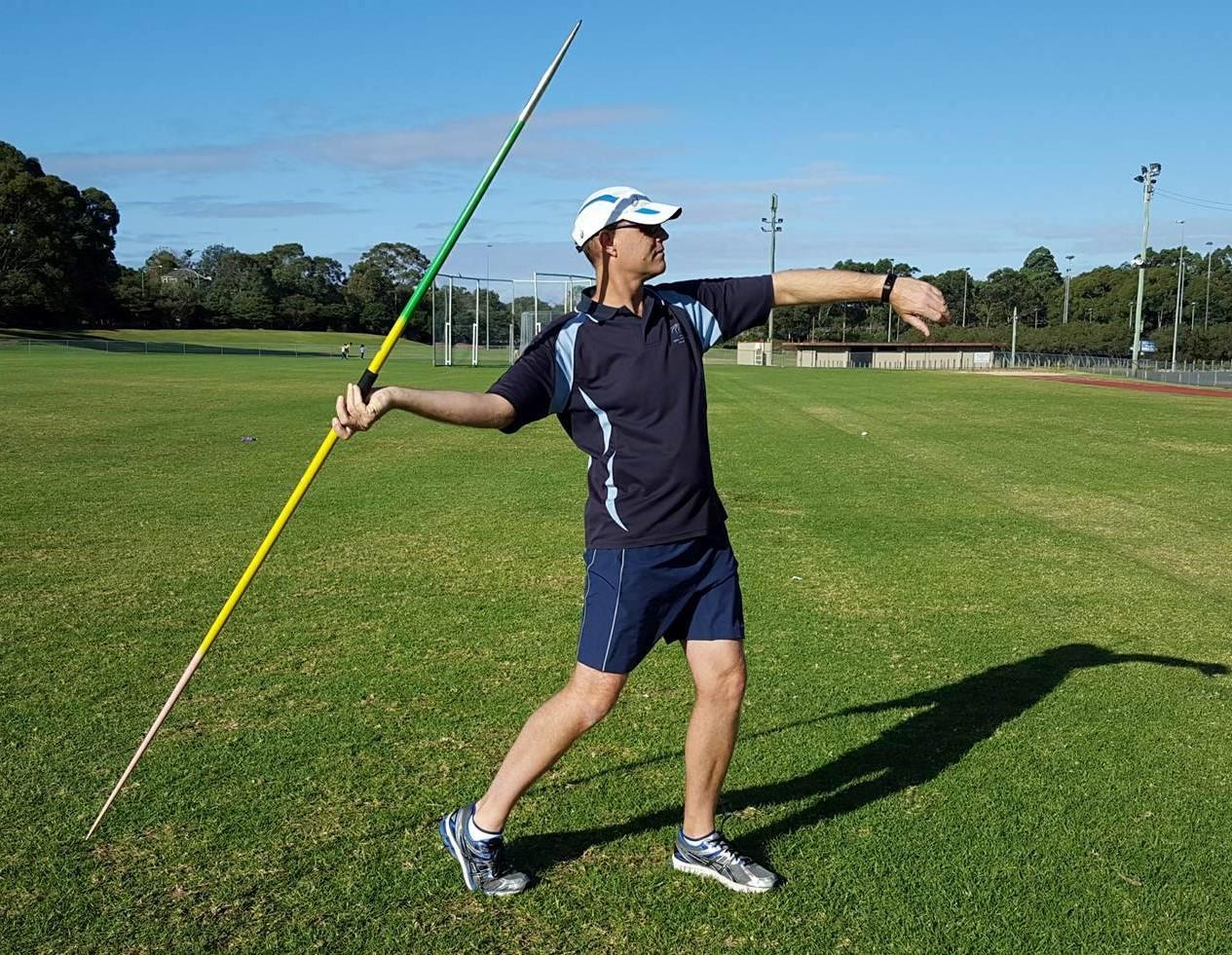 Javelin thrower with javelin tip held too high