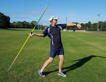 Javelin thrower with javelin tip held too high