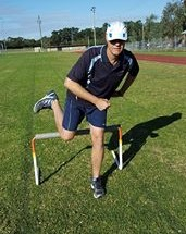 Hurdler incorrectly positioning their trailing foot higher than their trailing knee