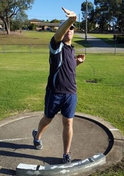 Shot putter showing good wrist extension