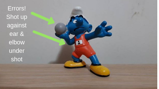 Smurf Shot Put Elbow Drop Front View