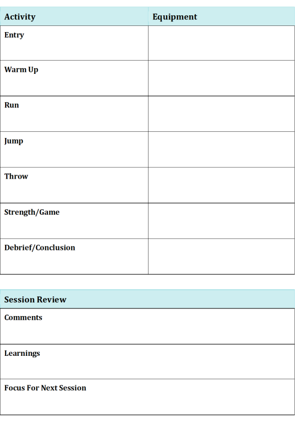 Session Plan & Review 2